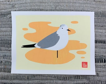 100 Days of Birds Original Artwork: #7 Laughing Gull