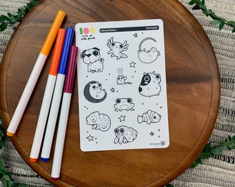 Pet Friends Coloring Stickers | Paper Sticker Sheets