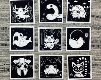 """Prints (2) 4""""×4"""" - 100 Days of Little Friends - Snake, Bat, Lemur, Frog, Rat, Shark, Beaver, Bison, Salamander"""