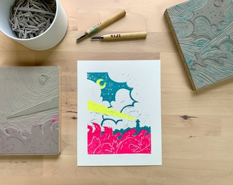 Storm Limited Edition Hand-carved Lino Print