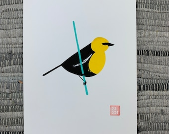 100 Days of Birds Original Artwork: #43 Yellow-headed Blackbird