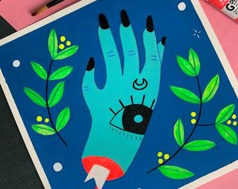 Witch's Hand | Original art gouache painting