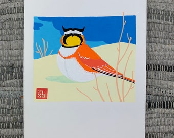 100 Days of Birds Original Artwork: #41 Horned Lark