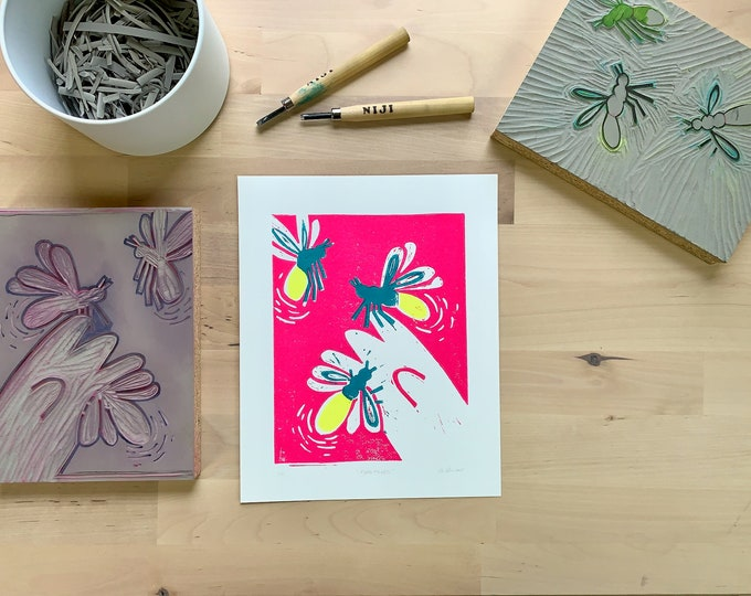 Featured listing image: Fireflies Limited Edition Hand-carved Lino Print