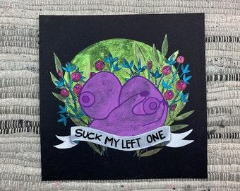 "Anger Bouquet Series ""Suck My Left One""   Original art color shift watercolor painting"