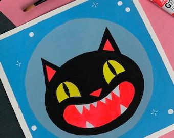 Black Cat | Original Art Gouache Painting