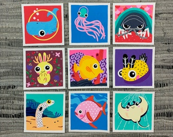 "Original Art - 100 Days of Little Friends - 4""×4"" - Opah, Tang, Jellyfish, Garden Eel, Whale, Ray, Isopod, Nudibranch, Jackalope"