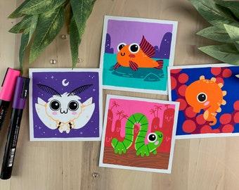 "Original Art - 100 Days of Little Friends - 4""×4"" - Mudskipper, Moth, Inchworm, Seahorse"