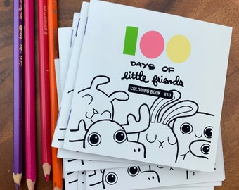 100 Days of Little Friends Mini Coloring Book #10 (10 pages)