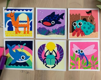 "Original Art - 100 Days of Little Friends - 4""×4"" - Whale Shark, Hermit Crab, Dragonfly, Dolphin, Camel, Beetle"