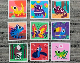 "Original Art - 100 Days of Little Friends - 4""×4"" - Grasshopper, Millipede, Okapi, Toucan, Butterfly, Iguana, Quoll, Devil, Thorny Devil"