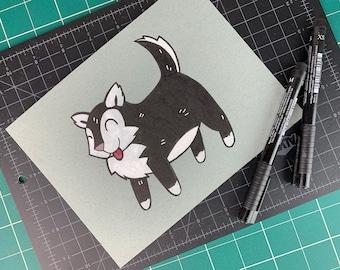 Inktober 2019 Original Artwork: #6 Husky