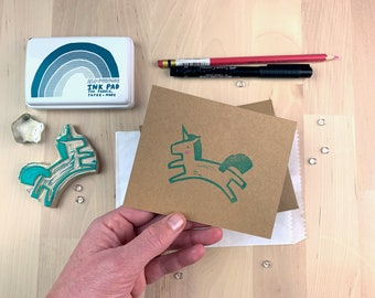 Turquoise Unicorn | Original Art Hand-stamped Blank Notecard