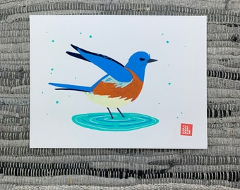 100 Days of Birds Original Artwork: #46 Western Bluebird