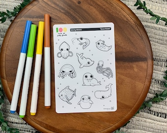 Ocean Friends Coloring Stickers | Paper Sticker Sheets