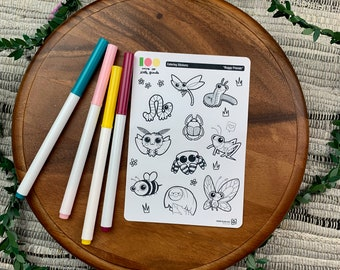 Buggy Friends Coloring Stickers | Paper Sticker Sheets