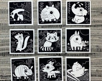 """Prints (2) 4""""×4"""" - 100 Days of Little Friends - Horse, Chicken, Coyote, Armadillo, Mongoose, Red Panda, Elephant, Tapir, Anteater"""