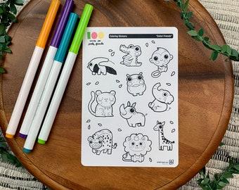 Safari Friends Coloring Stickers | Paper Sticker Sheets