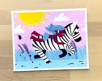 Zebra Rider (Bareback Riders Series) | 8x10 Original Art Print