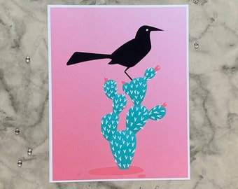Boat-tailed Grackle   8x10 Original Art Print