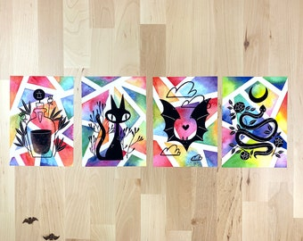 Color Witch Snake, Bat, Black Cat, and Potion   Watercolor Art Prints