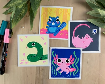 "Original Art - 100 Days of Little Friends - 4""×4"" - Snake, Rat, Beaver, Axolotl Salamander"