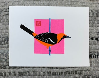100 Days of Birds Original Artwork: #79 Hooded Oriole