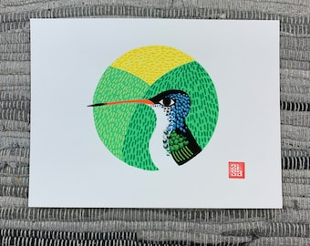100 Days of Birds Original Artwork: #47 Violet-crowned Hummingbird