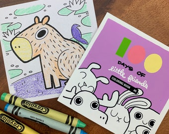 100 Days of Little Friends Mini Coloring Book #6 (10 pages)
