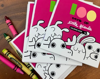 100 Days of Little Friends Mini Coloring Book #8 (10 pages)