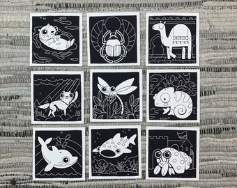 """Prints (2) 4""""×4"""" - 100 Days of Little Friends - Whale Shark, Hermit Crab, Chameleon, Wolf, Dragonfly, Dolphin, Otter, Camel, Beetle"""