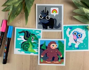 "Original Art - 100 Days of Little Friends - 4""×4"" - Hippocampus, Unicorn, Bigfoot, Yeti"