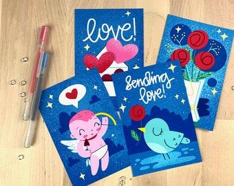 Send Love 4 Postcard Set