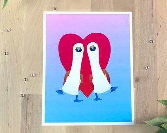 Pair of Blue-footed Boobies   8x10 Original Art Print