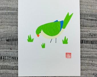 100 Days of Birds Original Artwork: #19 Monk Parakeet