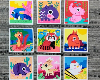 "Original Art - 100 Days of Little Friends - 4""×4"" - Horse, Chicken, Coyote, Armadillo, Mongoose, Red Panda, Elephant, Tapir, Anteater"