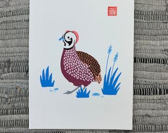 100 Days of Birds Original Artwork: #29 Montezuma Quail