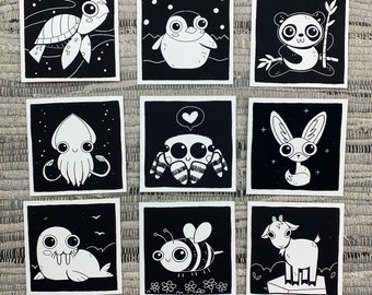 "Prints (2) 4""×4"" - 100 Days of Little Friends - Panda, Goat, Sea Turtle, Squid, Walrus, Penguin, Bee, Fox, Spider"