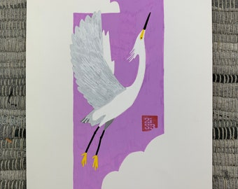 100 Days of Birds Original Artwork: #76 Snowy Egret