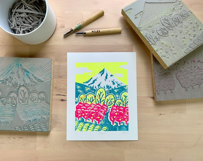 Featured listing image: Orchard Limited Edition Hand-carved Lino Print
