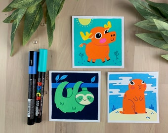 "Original Art - 100 Days of Little Friends - 4""×4"" - Moose, Prairie Dog, Sloth"