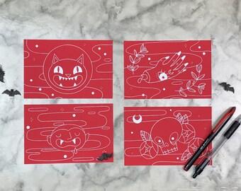 All Red Halloween Friends 4 Postcard Set