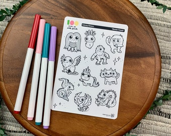 Monster Friends Coloring Stickers | Paper Sticker Sheets