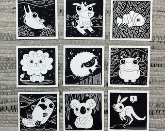 "Prints (2) 4""×4"" - 100 Days of Little Friends - Hippo, Lion, Sheep, Koala, Kangaroo, Platypus, Clown Fish, Cowfish, Cow"