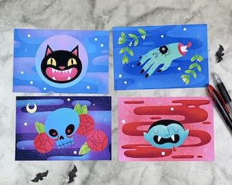 Halloween Friends 4 Postcard Set