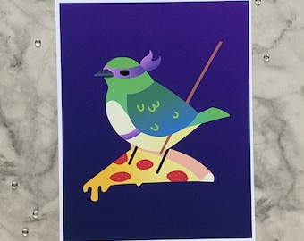 Teenage Mutant Ninja Tanager | 8x10 Original Art Print