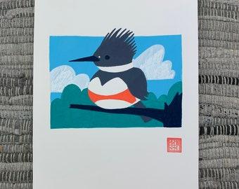 100 Days of Birds Original Artwork: #27 Belted Kingfisher