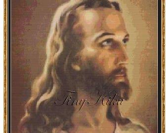 Portrait Of JESUS CHRIST No 152 Cross Stitch Pattern Vintage Image PDF Instant Download Symbols On Color Blocks Chart Large Print