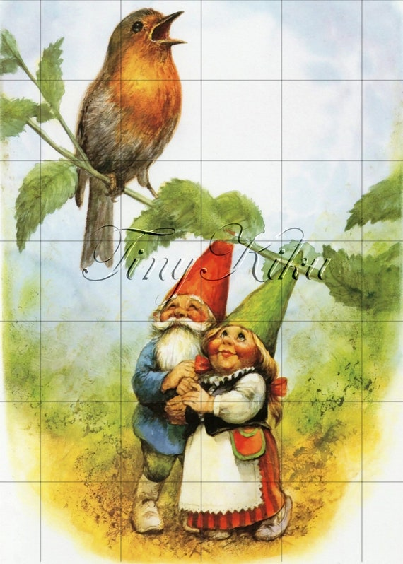 Size Options. Fabric Block Happy GNOME COUPLE with Singing ROBIN on Branch Iron On Transfer or Waterslide Decal Vintage Art Print
