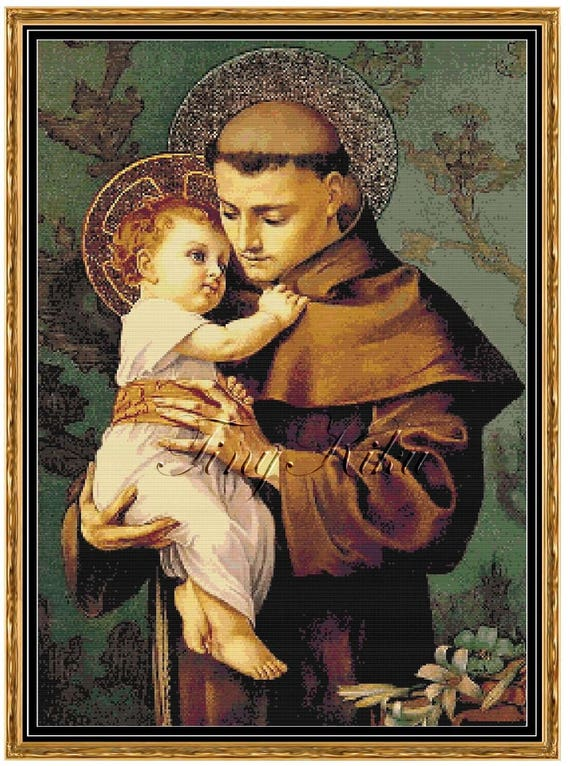 St Anthony Of Padua And Infant Jesus Counted Cross Stitch Etsy